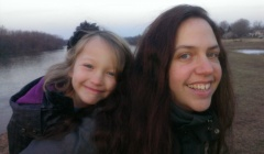 Jen and Lily by the CT River in Hadley2