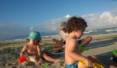 Kids digging on the Danang beach