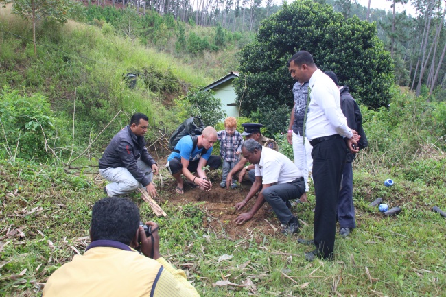 Planting a tree for the Wana Ropa project in Ella, Sri Lanka