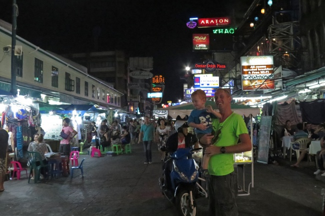 With daddy on Khao San Road, Bangkok, Thailand