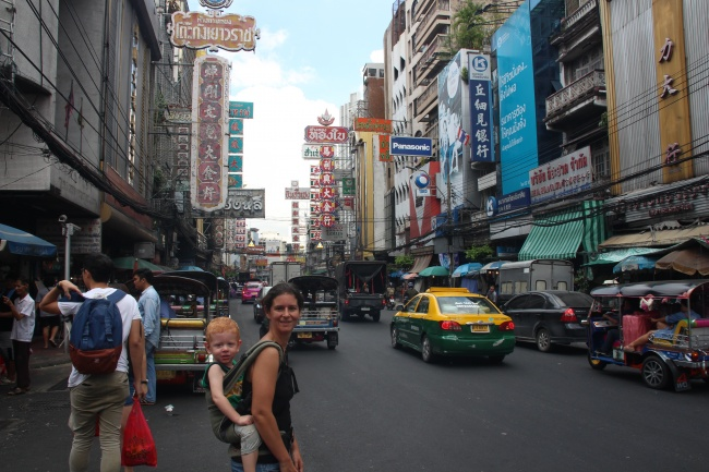 With mommy at Chinatown, Bangkok, Thailand