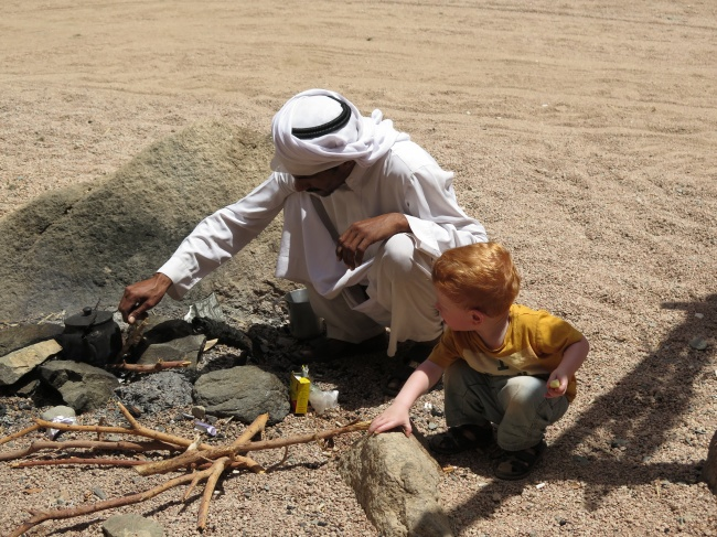 Making tea with one of our bedouin friends in Dahab, Egypt